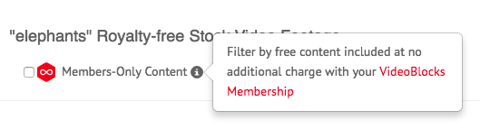 VideoBlocks Members Only Content Selection