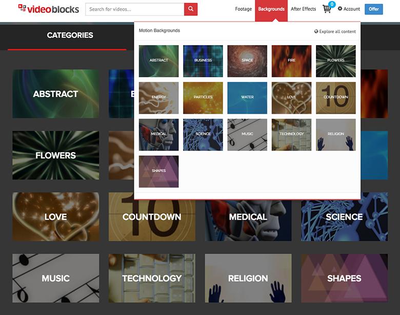 VideoBlocks Motion backgrounds Download Section